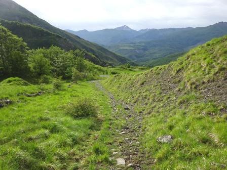 sentiero 667 679 verso Vallisnera con Monte Cusna sullo sfondo