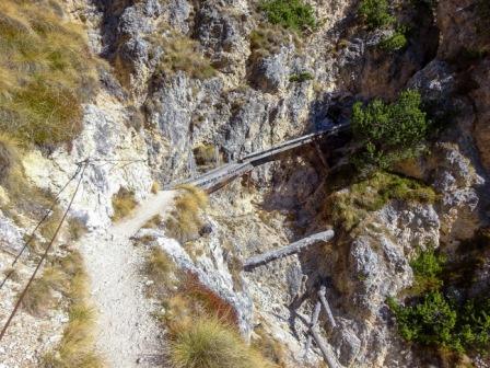 sentieri Sciliar Gola dell'Orsara Barenfalle tratto attrezzato